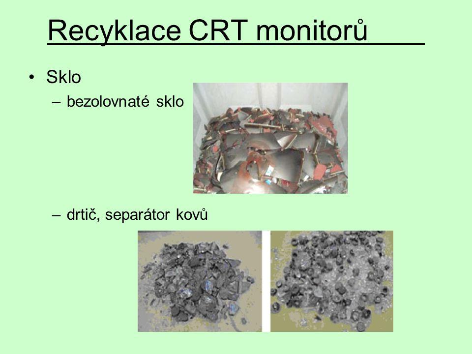Recyklace CRT monitorů Sklo –bezolovnaté sklo –drtič, separátor kovů