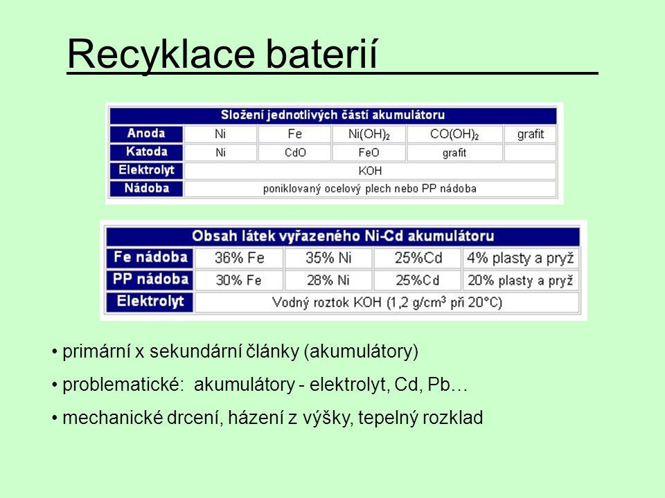 Recyklace baterií primární x sekundární články (akumulátory) problematické: akumulátory - elektrolyt, Cd, Pb… mechanické drcení, házení z výšky, tepel