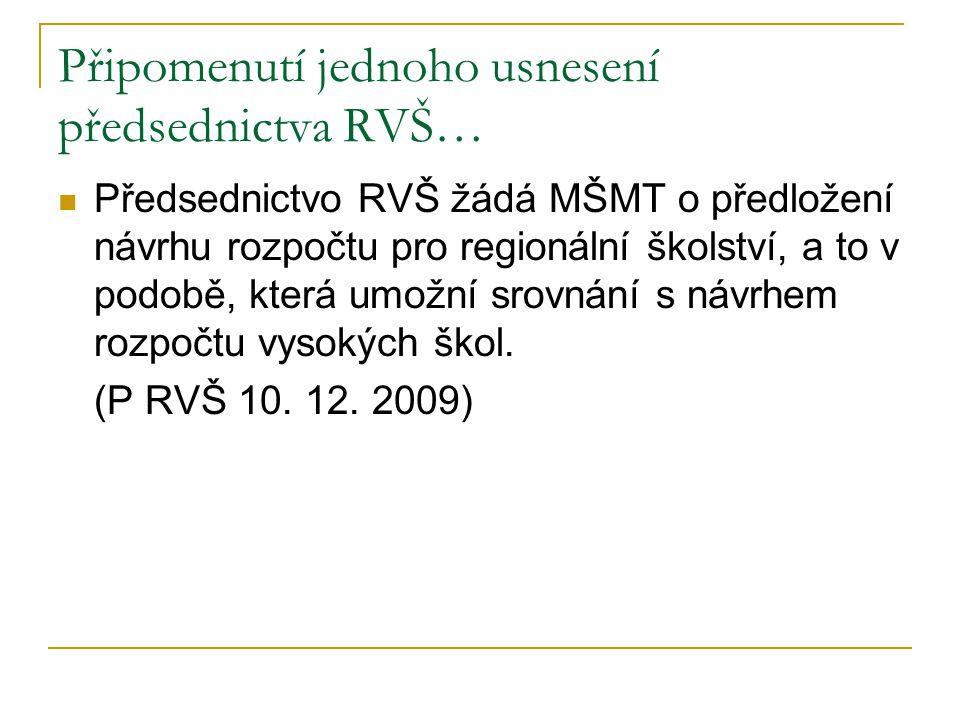 Připomenutí jednoho usnesení předsednictva RVŠ… Předsednictvo RVŠ žádá MŠMT o předložení návrhu rozpočtu pro regionální školství, a to v podobě, která umožní srovnání s návrhem rozpočtu vysokých škol.