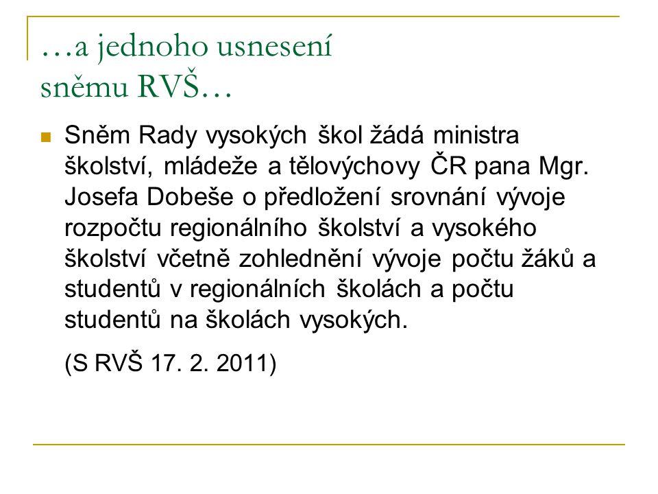 …a jednoho usnesení sněmu RVŠ… Sněm Rady vysokých škol žádá ministra školství, mládeže a tělovýchovy ČR pana Mgr. Josefa Dobeše o předložení srovnání