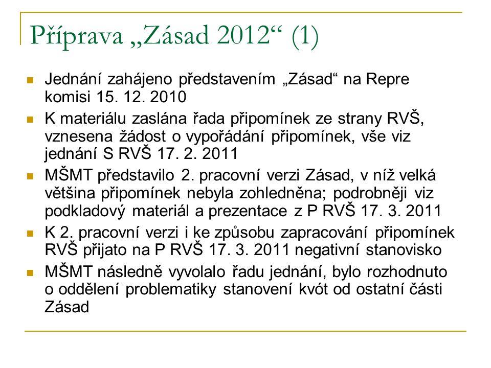 """Příprava """"Zásad 2012"""" (1) Jednání zahájeno představením """"Zásad"""" na Repre komisi 15. 12. 2010 K materiálu zaslána řada připomínek ze strany RVŠ, vznese"""
