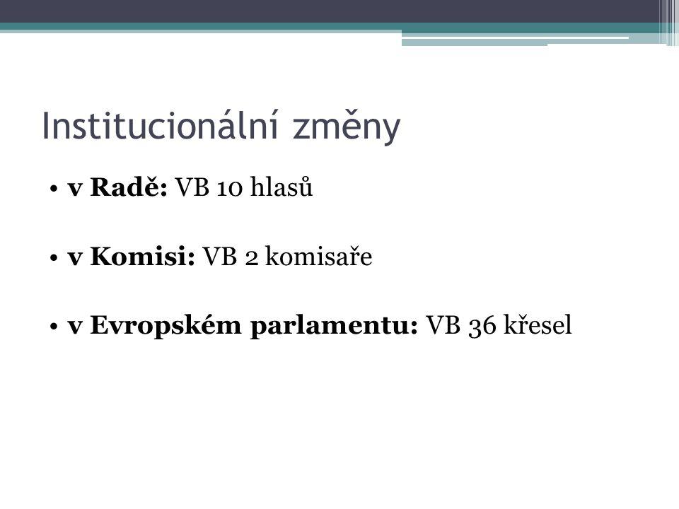 Institucionální změny v Radě: VB 10 hlasů v Komisi: VB 2 komisaře v Evropském parlamentu: VB 36 křesel