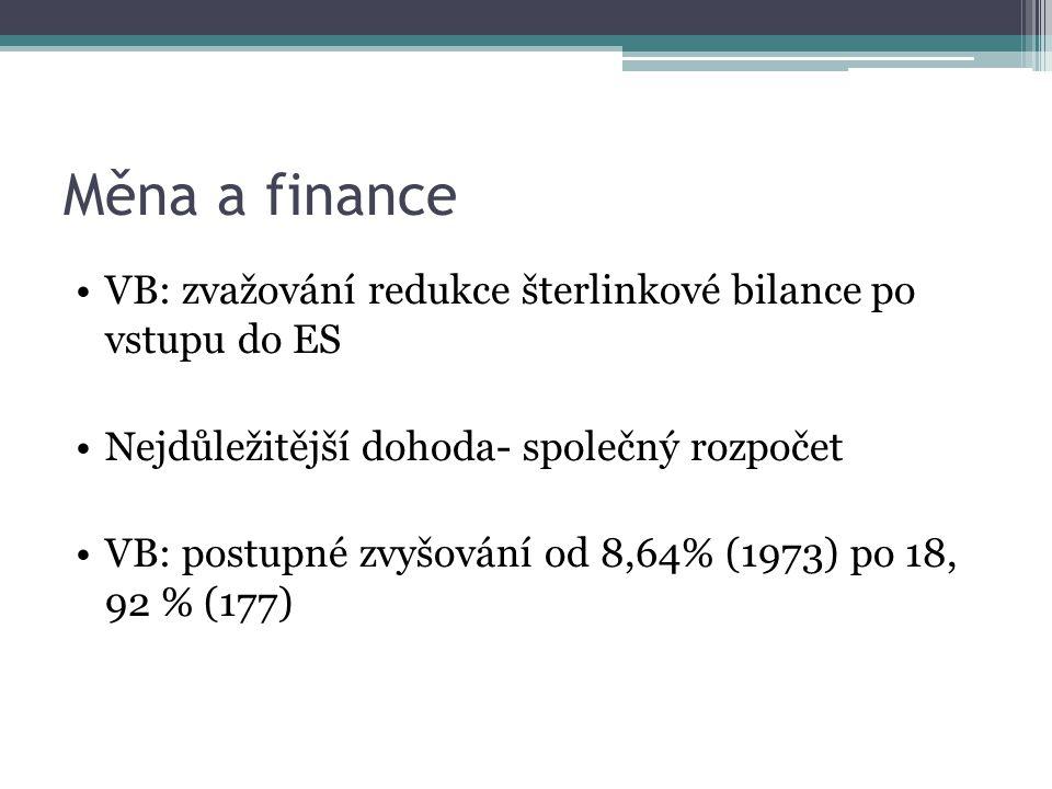 Měna a finance VB: zvažování redukce šterlinkové bilance po vstupu do ES Nejdůležitější dohoda- společný rozpočet VB: postupné zvyšování od 8,64% (1973) po 18, 92 % (177)