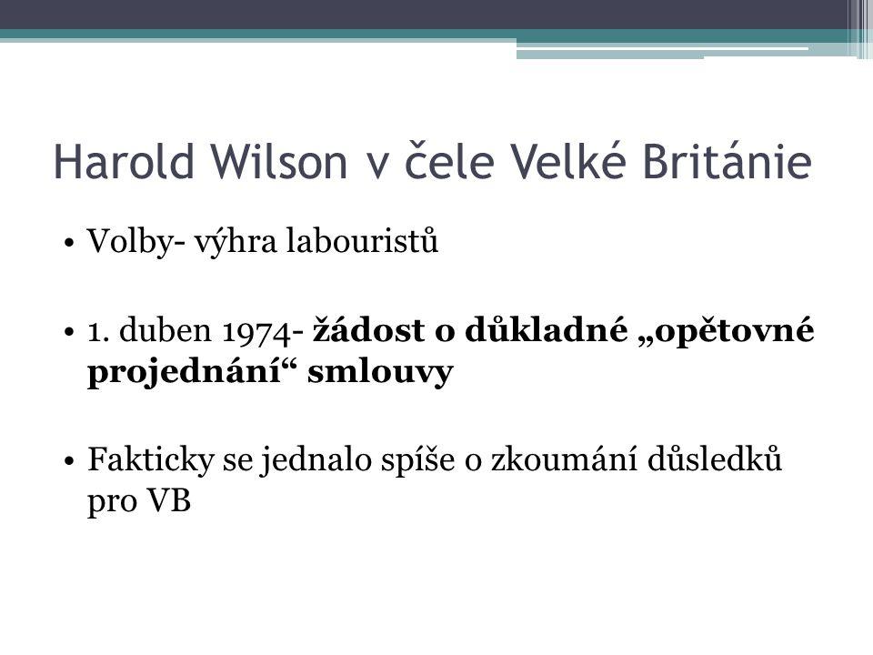 Harold Wilson v čele Velké Británie Volby- výhra labouristů 1.