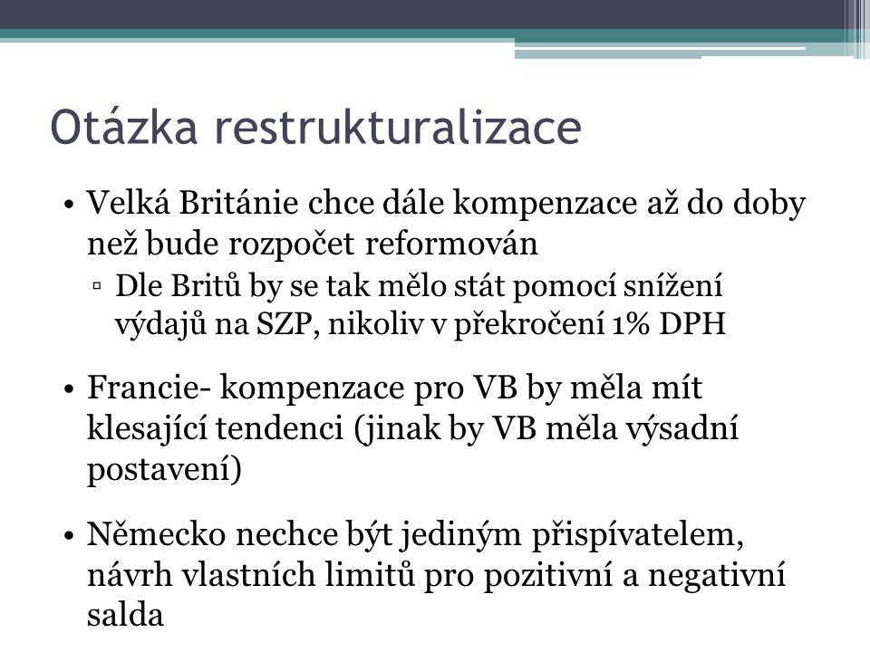 Otázka restrukturalizace Velká Británie chce dále kompenzace až do doby než bude rozpočet reformován ▫Dle Britů by se tak mělo stát pomocí snížení výdajů na SZP, nikoliv v překročení 1% DPH Francie- kompenzace pro VB by měla mít klesající tendenci (jinak by VB měla výsadní postavení) Německo nechce být jediným přispívatelem, návrh vlastních limitů pro pozitivní a negativní salda