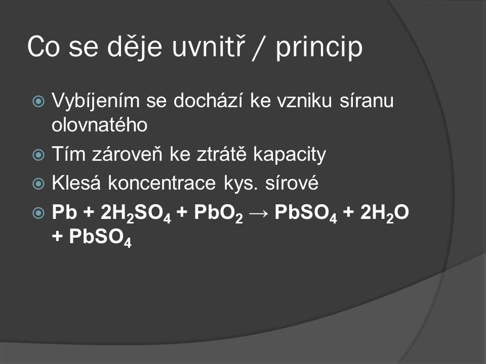 Co se děje uvnitř / princip  Vybíjením se dochází ke vzniku síranu olovnatého  Tím zároveň ke ztrátě kapacity  Klesá koncentrace kys. sírové  Pb +