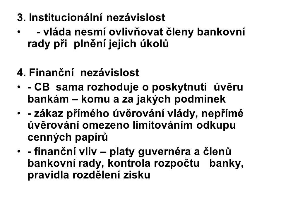 3. Institucionální nezávislost - vláda nesmí ovlivňovat členy bankovní rady při plnění jejich úkolů 4. Finanční nezávislost - CB sama rozhoduje o posk