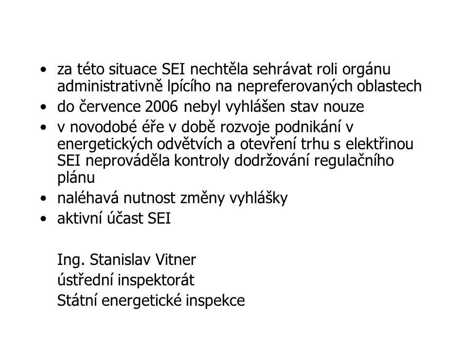 za této situace SEI nechtěla sehrávat roli orgánu administrativně lpícího na nepreferovaných oblastech do července 2006 nebyl vyhlášen stav nouze v novodobé éře v době rozvoje podnikání v energetických odvětvích a otevření trhu s elektřinou SEI neprováděla kontroly dodržování regulačního plánu naléhavá nutnost změny vyhlášky aktivní účast SEI Ing.