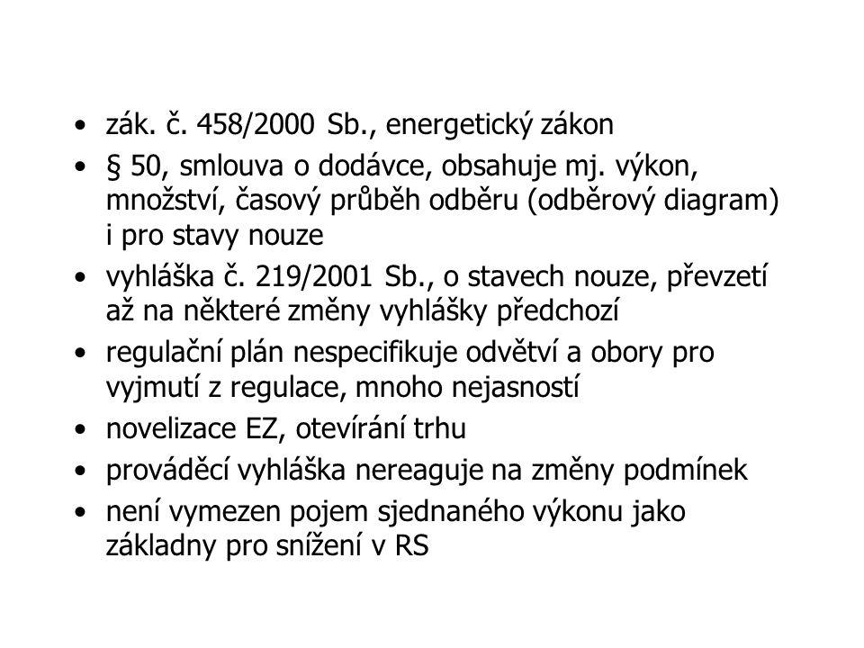 zák. č. 458/2000 Sb., energetický zákon § 50, smlouva o dodávce, obsahuje mj.