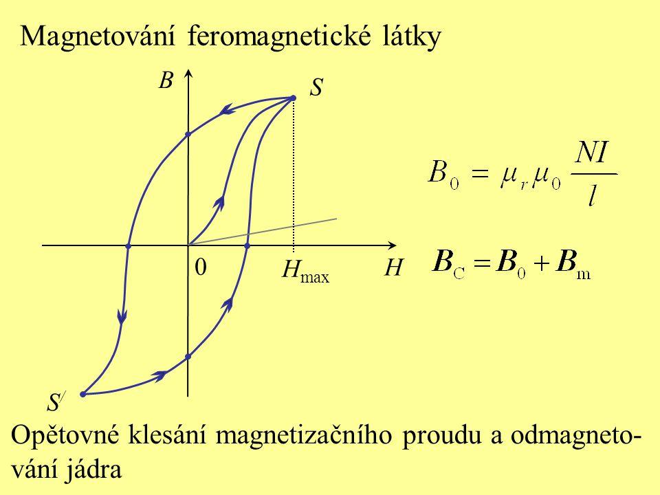 S H B 0 Magnetování feromagnetické látky H max Opětovné klesání magnetizačního proudu a odmagneto- vání jádra S/S/