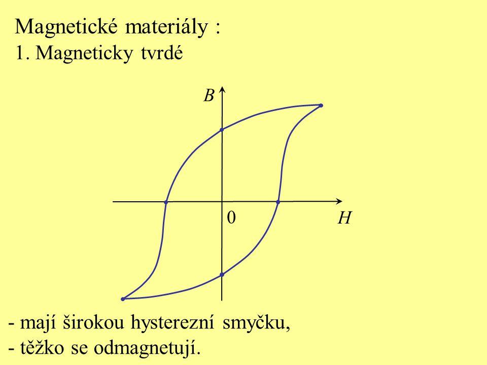 Magnetické materiály : 1. Magneticky tvrdé - mají širokou hysterezní smyčku, - těžko se odmagnetují. H B 0