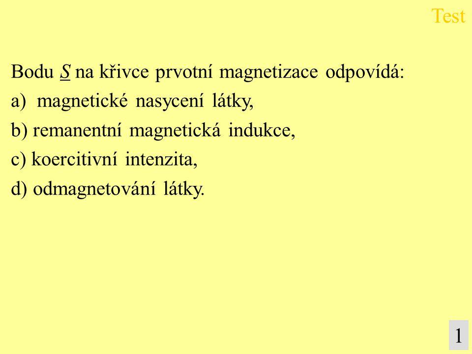 Bodu S na křivce prvotní magnetizace odpovídá: a) magnetické nasycení látky, b) remanentní magnetická indukce, c) koercitivní intenzita, d) odmagnetování látky.
