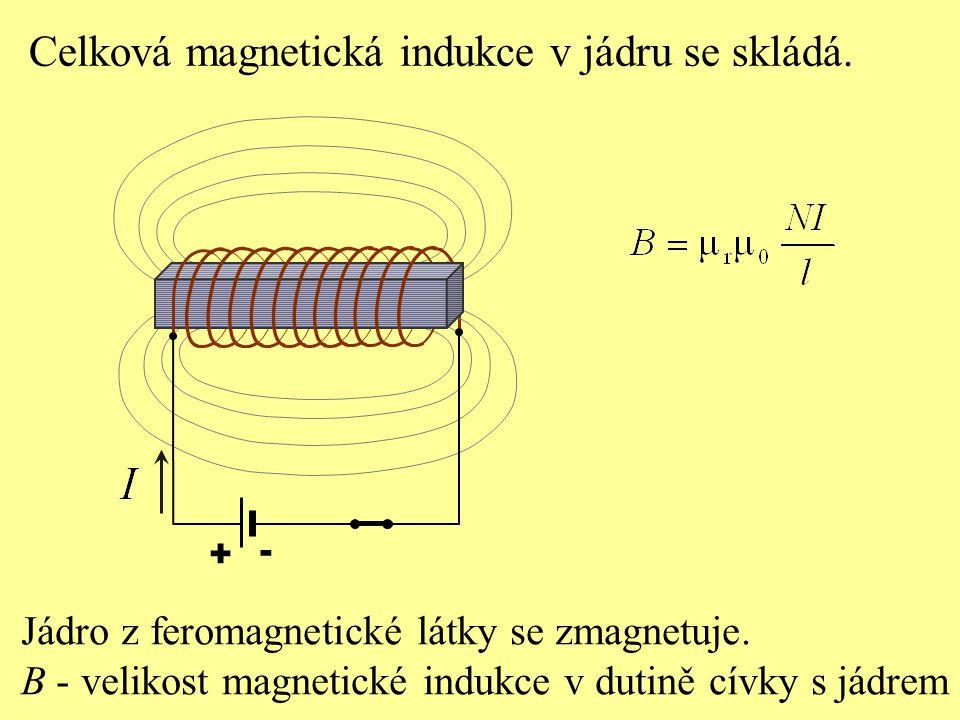 + - Celková magnetická indukce v jádru se skládá. Jádro z feromagnetické látky se zmagnetuje. B - velikost magnetické indukce v dutině cívky s jádrem