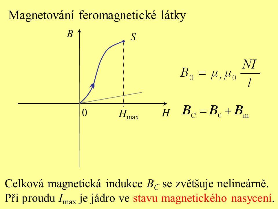 S H B 0 Magnetování feromagnetické látky H max Celková magnetická indukce B C se zvětšuje nelineárně. Při proudu I max je jádro ve stavu magnetického