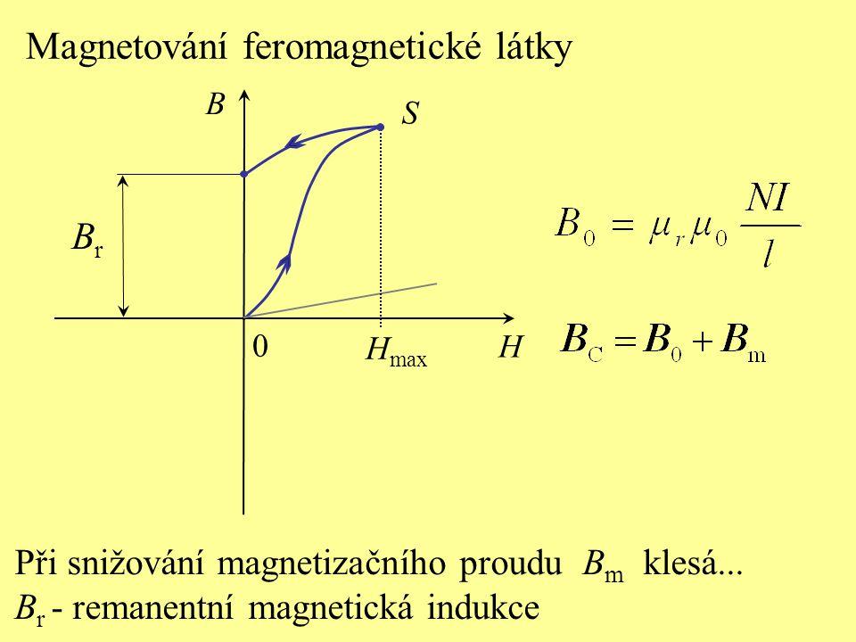 BrBr S H B 0 Magnetování feromagnetické látky H max Při snižování magnetizačního proudu B m klesá... B r - remanentní magnetická indukce