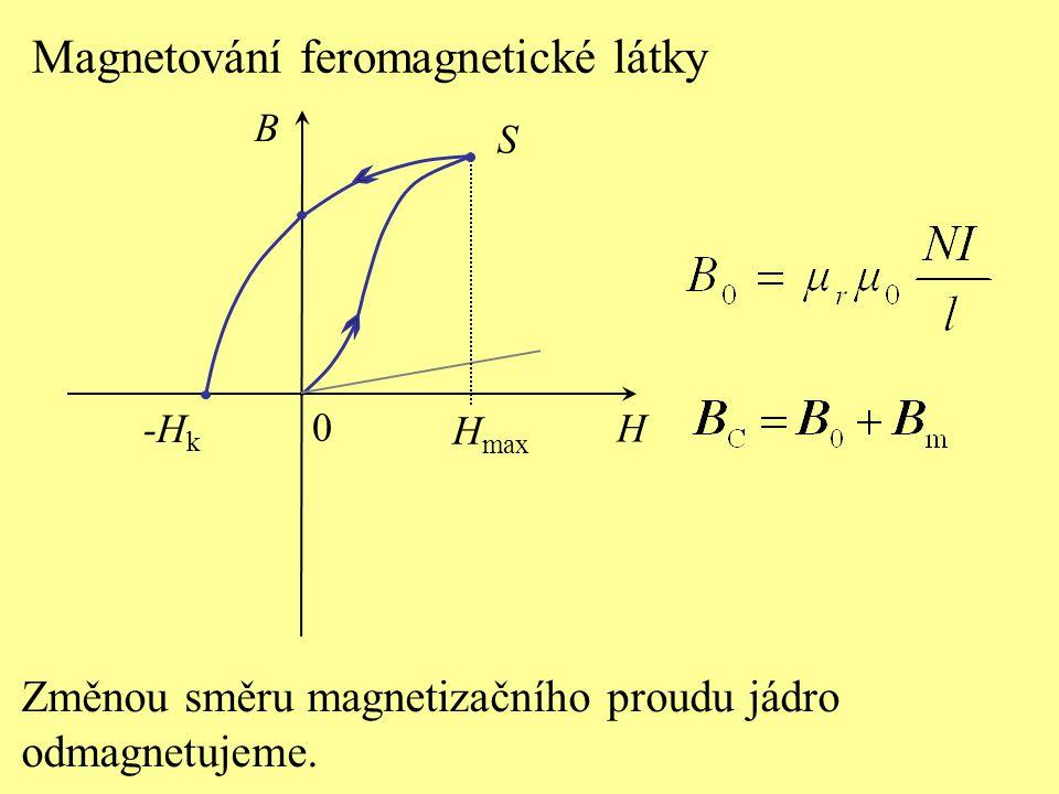S H B 0 Magnetování feromagnetické látky H max Změnou směru magnetizačního proudu jádro odmagnetujeme. -Hk-Hk