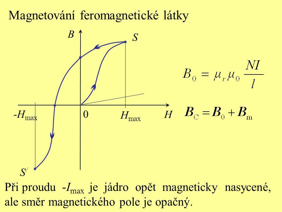 S H B 0 Magnetování feromagnetické látky H max Při proudu -I max je jádro opět magneticky nasycené, ale směr magnetického pole je opačný.