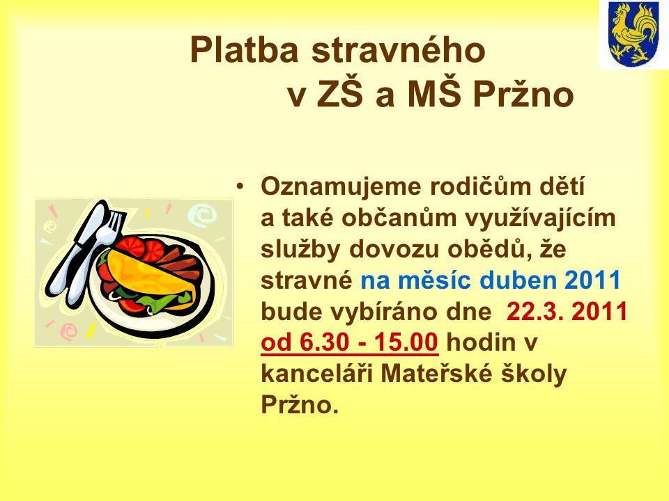 Platba stravného v ZŠ a MŠ Pržno Oznamujeme rodičům dětí a také občanům využívajícím služby dovozu obědů, že stravné na měsíc duben 2011 bude vybíráno dne 22.3.