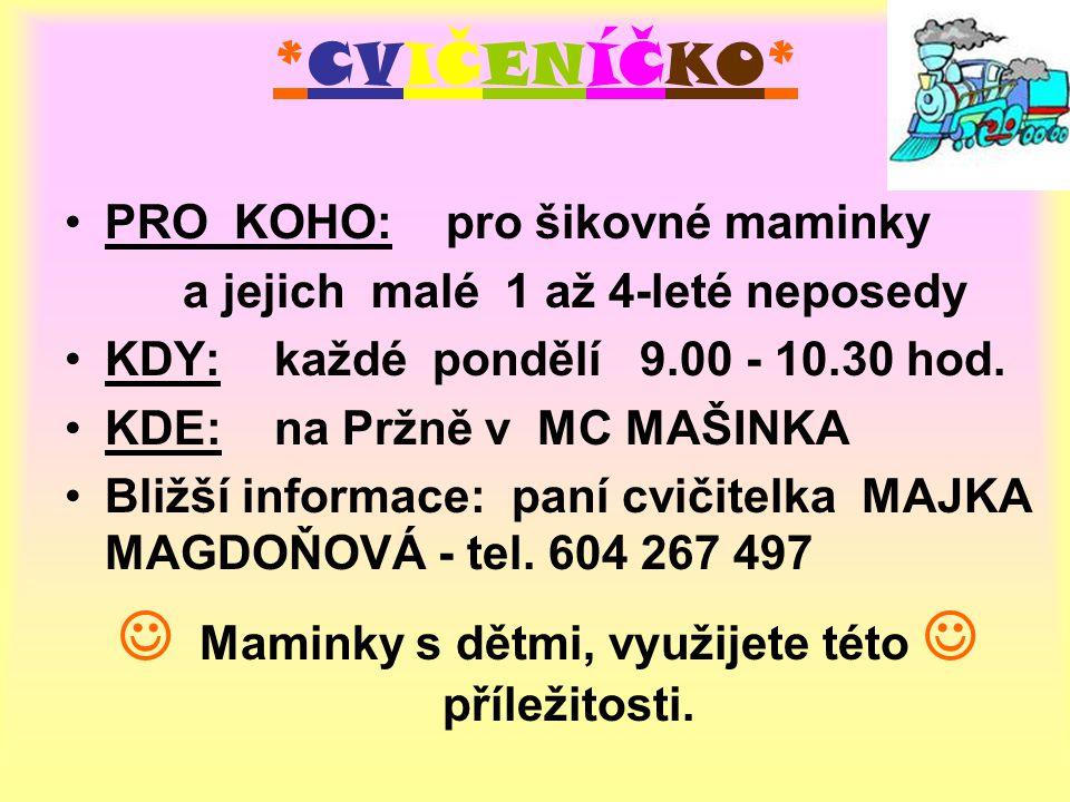 *CVIČENÍČKO* PRO KOHO: pro šikovné maminky a jejich malé 1 až 4-leté neposedy KDY: každé pondělí 9.00 - 10.30 hod.