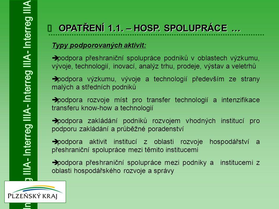  OPATŘENÍ 1.1. – HOSP. SPOLUPRÁCE … Typy podporovaných aktivit:  podpora přeshraniční spolupráce podniků v oblastech výzkumu, vývoje, technologií, i