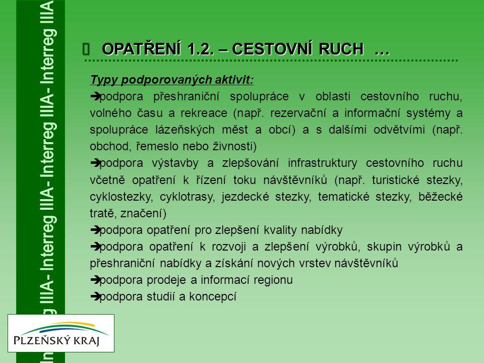  OPATŘENÍ 1.2. – CESTOVNÍ RUCH … Typy podporovaných aktivit:  podpora přeshraniční spolupráce v oblasti cestovního ruchu, volného času a rekreace (n
