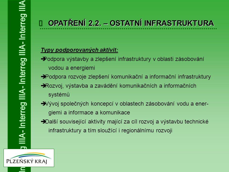  OPATŘENÍ 2.2. – OSTATNÍ INFRASTRUKTURA Typy podporovaných aktivit:  Podpora výstavby a zlepšení infrastruktury v oblasti zásobování vodou a energie