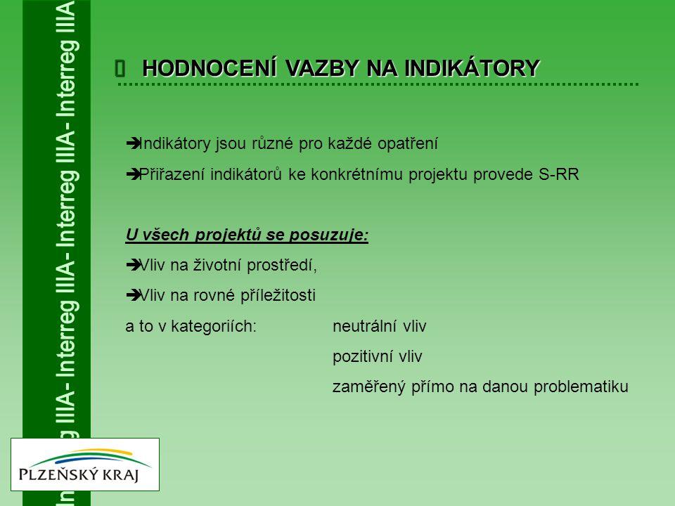  HODNOCENÍ VAZBY NA INDIKÁTORY  Indikátory jsou různé pro každé opatření  Přiřazení indikátorů ke konkrétnímu projektu provede S-RR U všech projekt