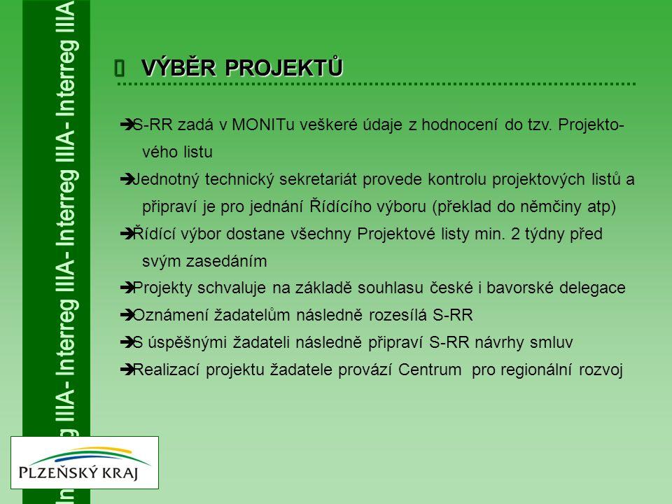  VÝBĚR PROJEKTŮ  S-RR zadá v MONITu veškeré údaje z hodnocení do tzv. Projekto- vého listu  Jednotný technický sekretariát provede kontrolu projekt