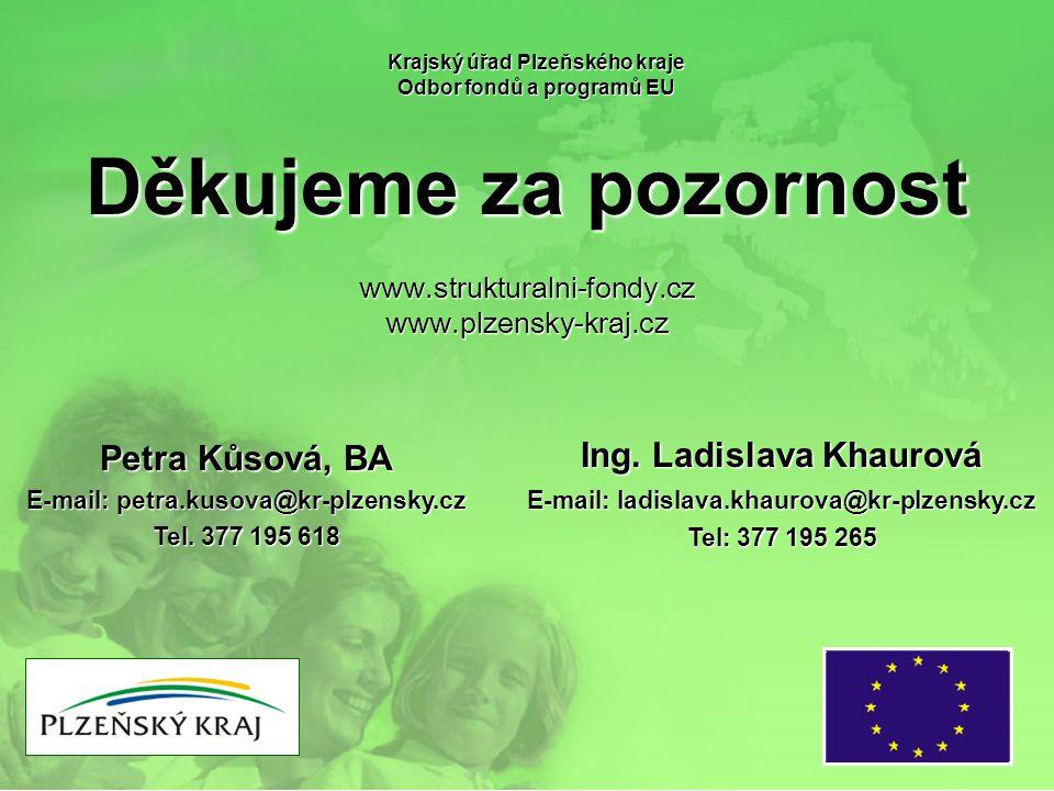 Děkujeme za pozornost Krajský úřad Plzeňského kraje Odbor fondů a programů EU www.strukturalni-fondy.czwww.plzensky-kraj.cz Petra Kůsová, BA E-mail: p