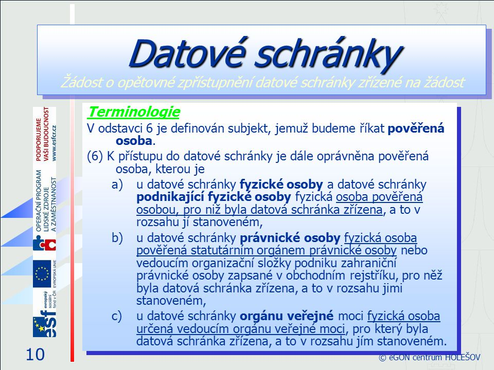 Terminologie V odstavci 6 je definován subjekt, jemuž budeme říkat pověřená osoba. (6) K přístupu do datové schránky je dále oprávněna pověřená osoba,