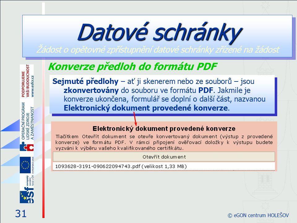 Sejmuté předlohy – ať ji skenerem nebo ze souborů – jsou zkonvertovány do souboru ve formátu PDF. Jakmile je konverze ukončena, formulář se doplní o d