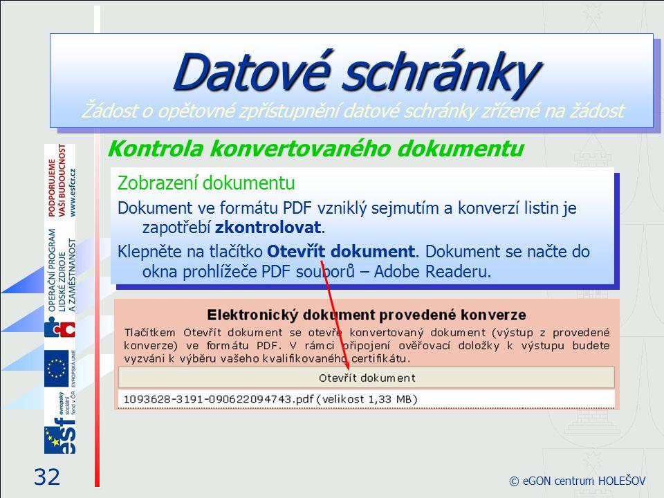 Zobrazení dokumentu Dokument ve formátu PDF vzniklý sejmutím a konverzí listin je zapotřebí zkontrolovat.