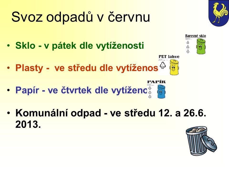 Svoz odpadů v červnu Sklo - v pátek dle vytíženosti Plasty - ve středu dle vytíženosti Papír - ve čtvrtek dle vytíženosti Komunální odpad - ve středu 12.