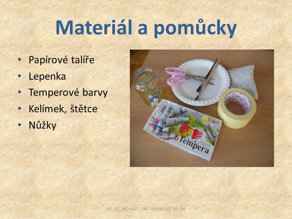 Materiál a pomůcky Papírové talíře Lepenka Temperové barvy Kelímek, štětce Nůžky VY_32_INOVACE_04 – PAPÍROVÉ TALÍŘE
