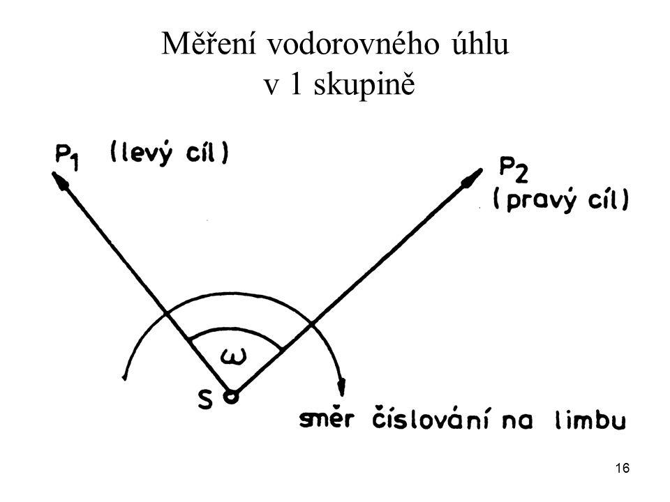 Měření vodorovného úhlu v 1 skupině 16