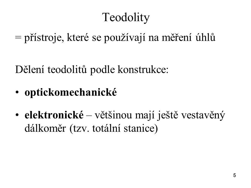 Teodolity = přístroje, které se používají na měření úhlů Dělení teodolitů podle konstrukce: optickomechanické elektronické – většinou mají ještě vesta