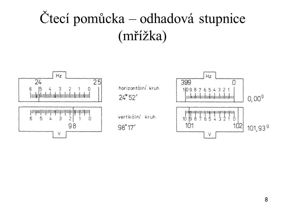 Příprava teodolitu na měření horizontace  vertikální osa teodolitu V je svislá centrace  osa V prochází stanoviskem postup centrace a horizontace viz cvičení 9
