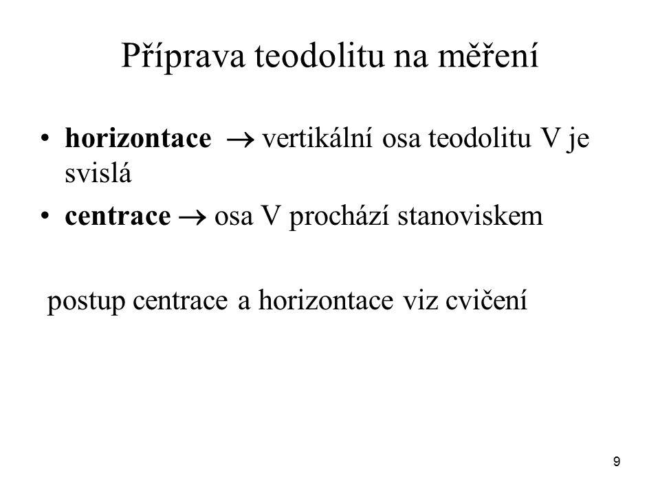 Příprava teodolitu na měření horizontace  vertikální osa teodolitu V je svislá centrace  osa V prochází stanoviskem postup centrace a horizontace vi