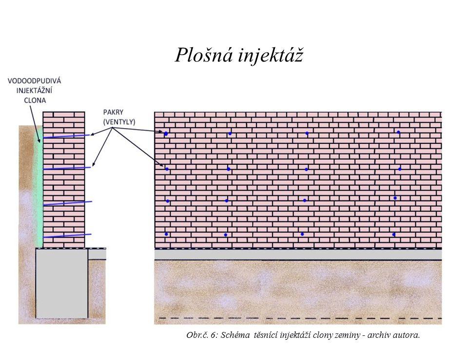 Obr.č. 6: Schéma těsnící injektáží clony zeminy - archiv autora. Plošná injektáž