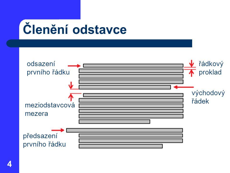 Zarovnání odstavce Nastavení zarovnání vůči okrajům stránky – vlevo (Left) – vpravo (Right) – na střed (Center) – do bloku (Justify) 5 lze použít klávesové zkratky Ctrl + L, Ctrl + R Ctrl + E, Ctrl + J úprava mezislovních mezer