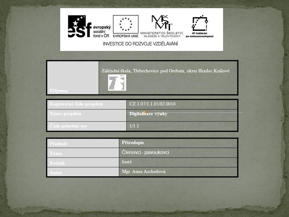 Př í jemce Z á kladn í š kola, Třebechovice pod Orebem, okres Hradec Kr á lov é Registračn í č í slo projektu CZ.1.07/1.1.05/02.0010 N á zev projektu
