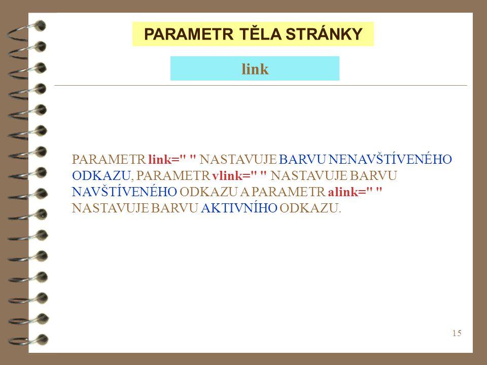 15 PARAMETR TĚLA STRÁNKY PARAMETR link=