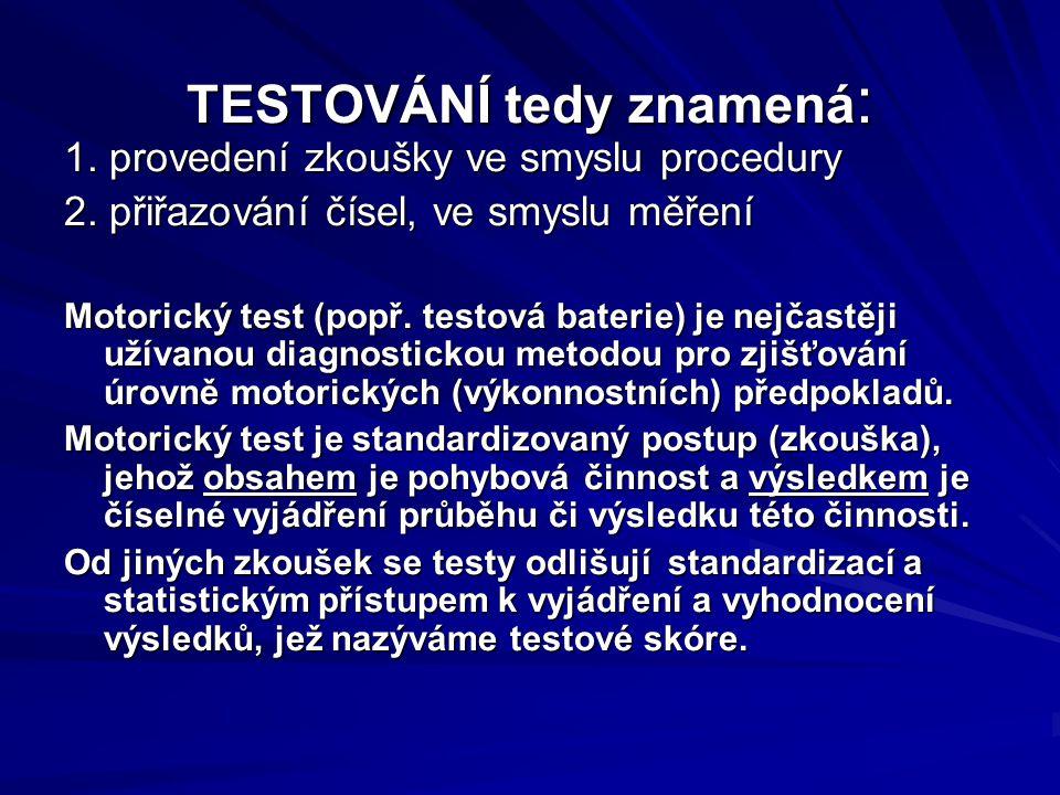 TESTOVÁNÍ tedy znamená : 1.provedení zkoušky ve smyslu procedury 2.