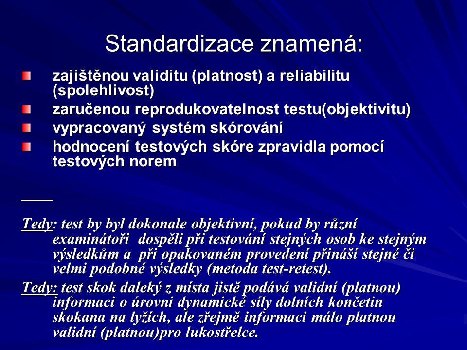 Standardizace znamená: zajištěnou validitu (platnost) a reliabilitu (spolehlivost) zaručenou reprodukovatelnost testu(objektivitu) vypracovaný systém skórování hodnocení testových skóre zpravidla pomocí testových norem Tedy: test by byl dokonale objektivní, pokud by různí examinátoři dospěli při testování stejných osob ke stejným výsledkům a při opakovaném provedení přináší stejné či velmi podobné výsledky (metoda test-retest).