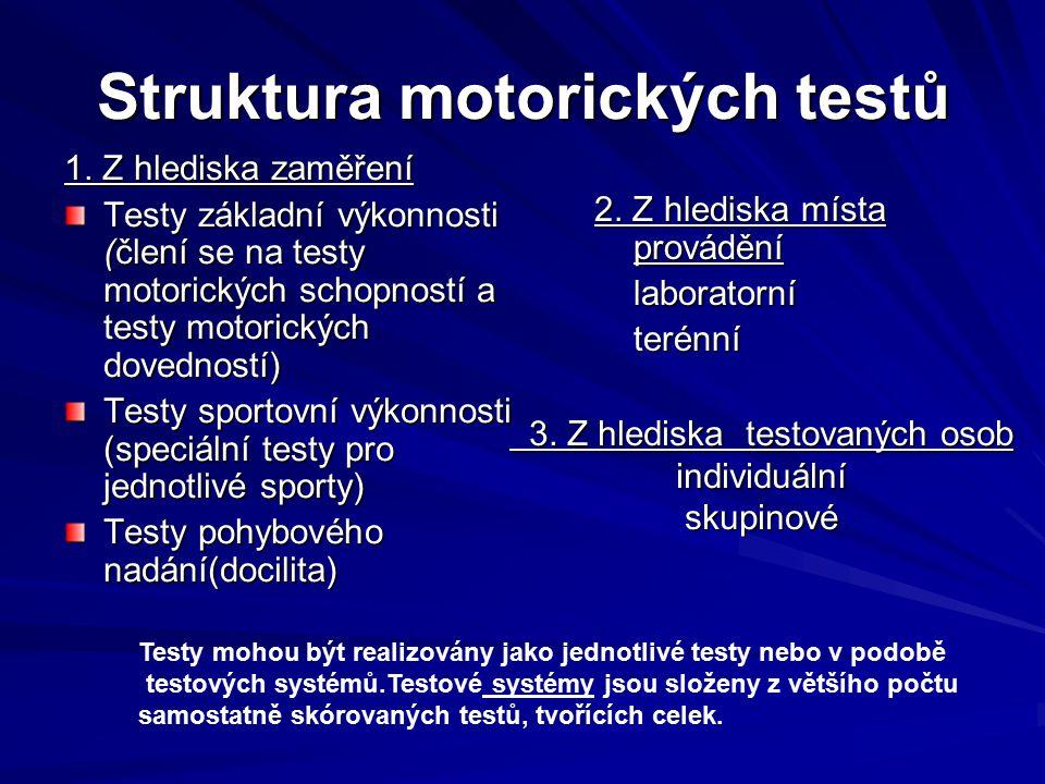 Struktura motorických testů 1.