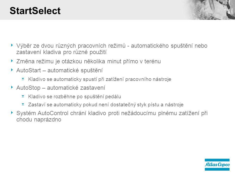  Výběr ze dvou různých pracovních režimů - automatického spuštění nebo zastavení kladiva pro různé použití  Změna režimu je otázkou několika minut přímo v terénu  AutoStart – automatické spuštění  Kladivo se automaticky spustí při zatížení pracovního nástroje  AutoStop – automatické zastavení  Kladivo se rozběhne po spuštění pedálu  Zastaví se automaticky pokud není dostatečný styk pístu a nástroje  Systém AutoControl chrání kladivo proti nežádoucímu plnému zatížení při chodu naprázdno StartSelect
