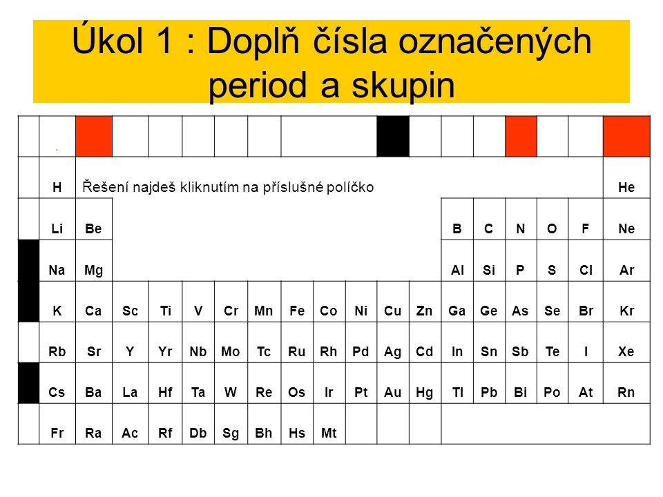 Úkol 1 : Doplň čísla označených period a skupin.II. I.V.VIII. H Řešení najdeš kliknutím na příslušné políčko He LiBeBCNOFNe 3NaMgAlSiPSClAr 4KCaScTiVC