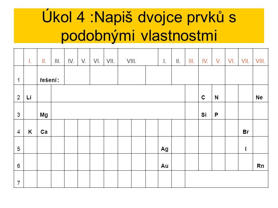 Úkol 4 :Napiš dvojce prvků s podobnými vlastnostmi I.II.III.IV.V.VI.VII.VIII. I.II.III.IV.V.VI.VII.VIII. 1řešení : Li, KMg, CaAg, AuC, SiN, PBr, INe,
