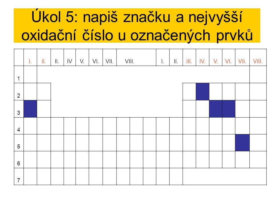 Úkol 5: napiš značku a nejvyšší oxidační číslo u označených prvků I.II. IVV.VI.VII.VIII. I.II.III.IV.V.VI.VII.VIII. 1 2C IV 3 Na I PVPV S VI 4 5I Vii