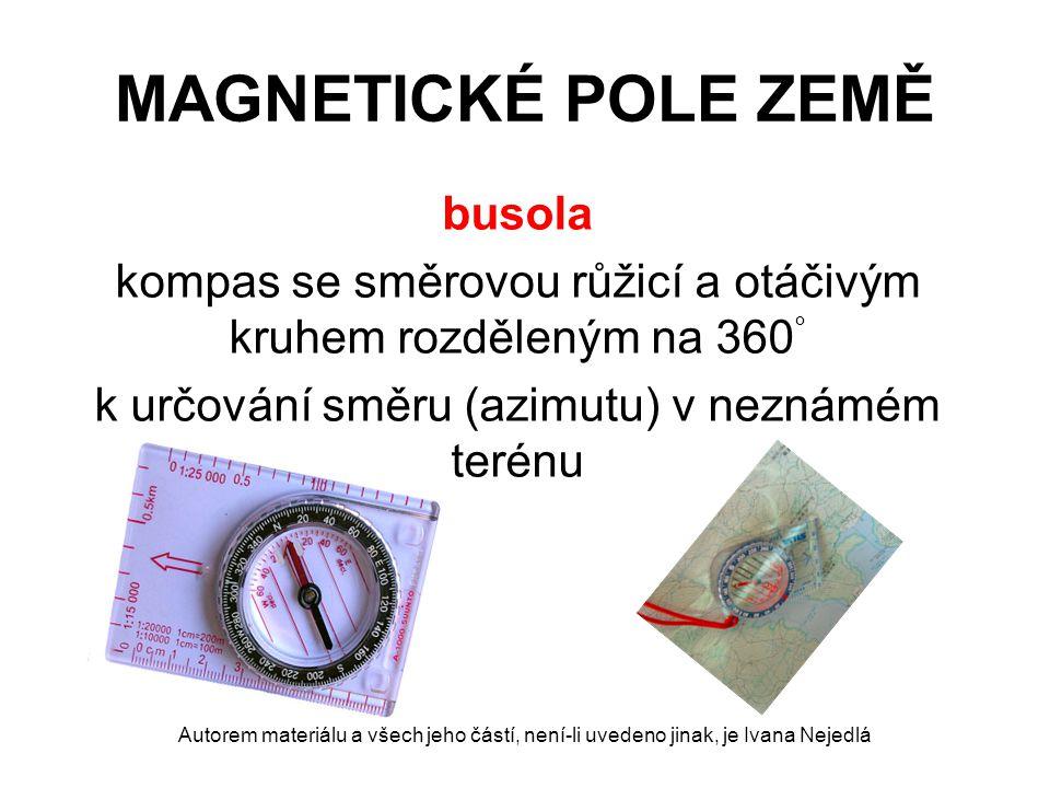 MAGNETICKÉ POLE ZEMĚ busola kompas se směrovou růžicí a otáčivým kruhem rozděleným na 360 ° k určování směru (azimutu) v neznámém terénu Autorem mater